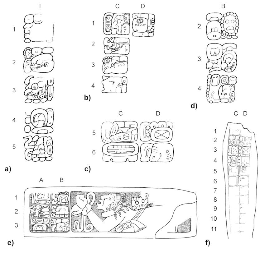 the kaanu'ul and bat head emblems in Calakmul, Dzibanche