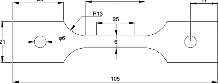 Sub-sized ASTM E8-E8M/11 tensile test specimen of 0.9 mm