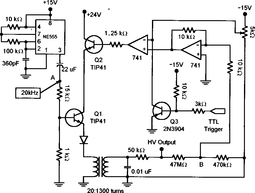 Circuit diagram for the high voltage power supply