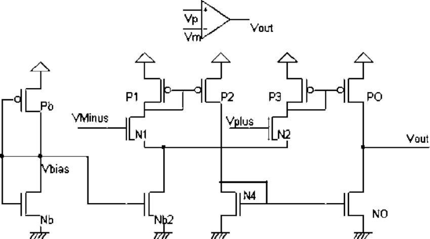 Schematic diagram of a push-pull operational amplifier