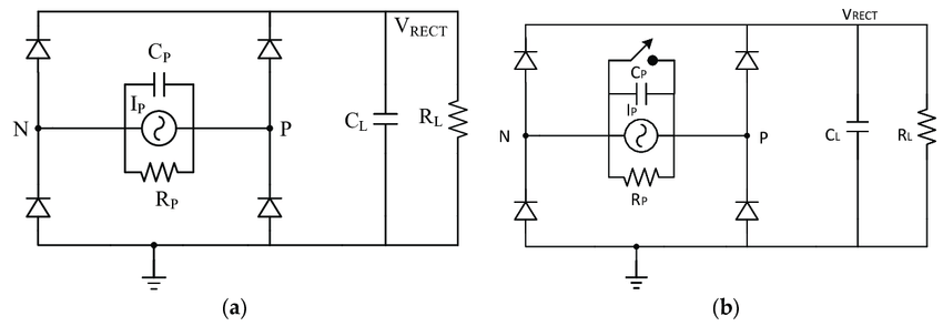 Circuit schematics of: (a) a full-wave rectifier, (b) a