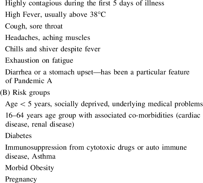 Symptoms and risk groups (A) Swine flu symptoms   Download Table