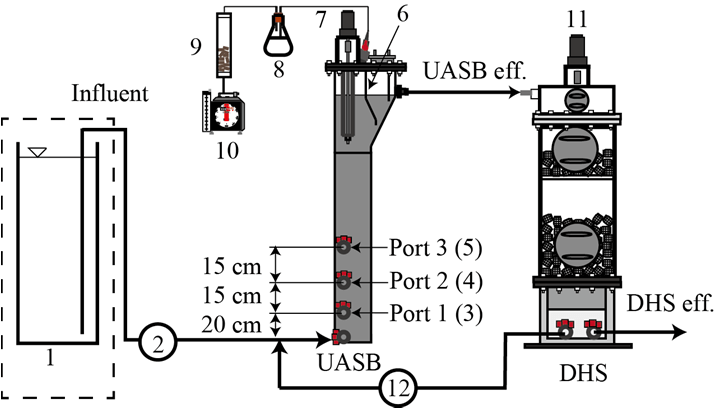 -Schematic diagram of the UASB and DHS combined system, (1