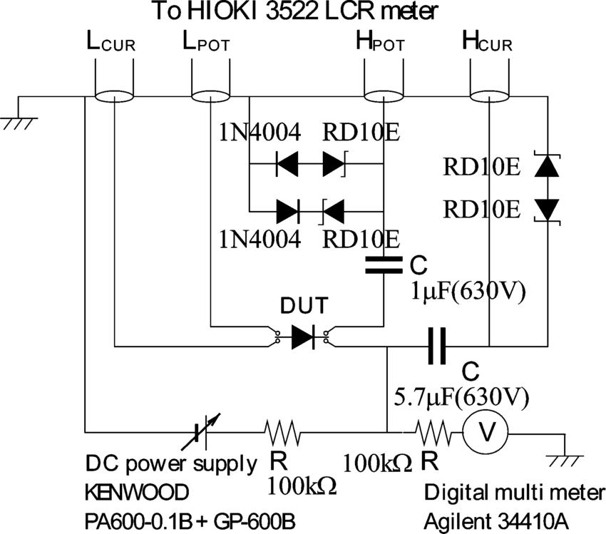 Circuit configuration of high dc voltage bias fixture for