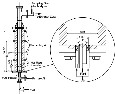 Sectional view of combustion chamber and diffusion burner