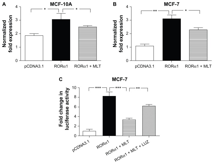 Melatonin represses the stimulatory effect of Rorα1 on