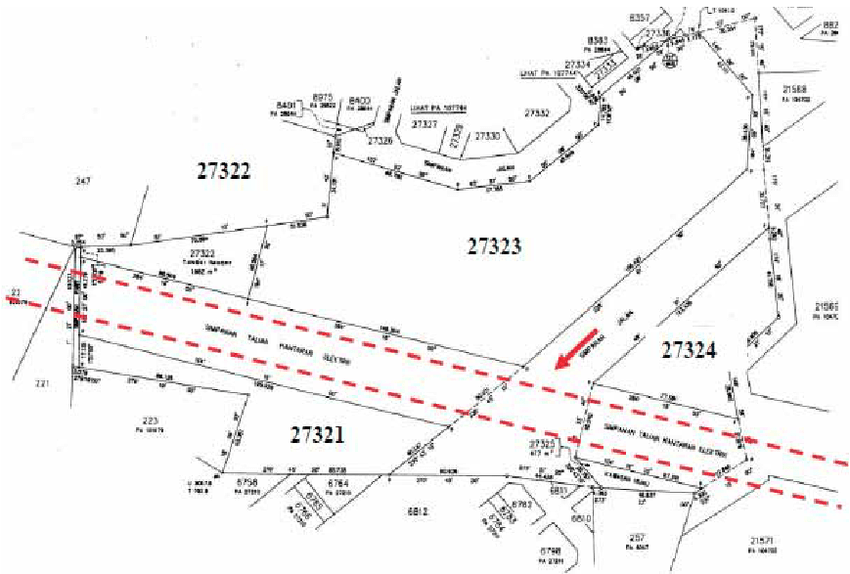 Cadastral map showing location of the transmission lines