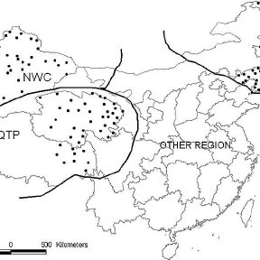 Annual average distributions of snow-cover period in China