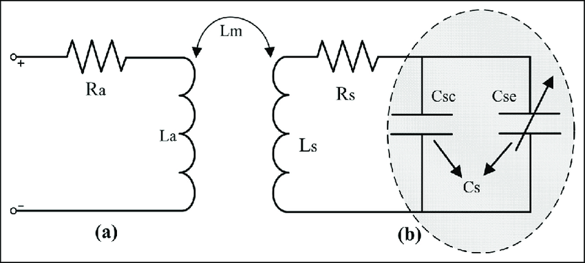 Equivalent electrical circuit of sensor coupled with an
