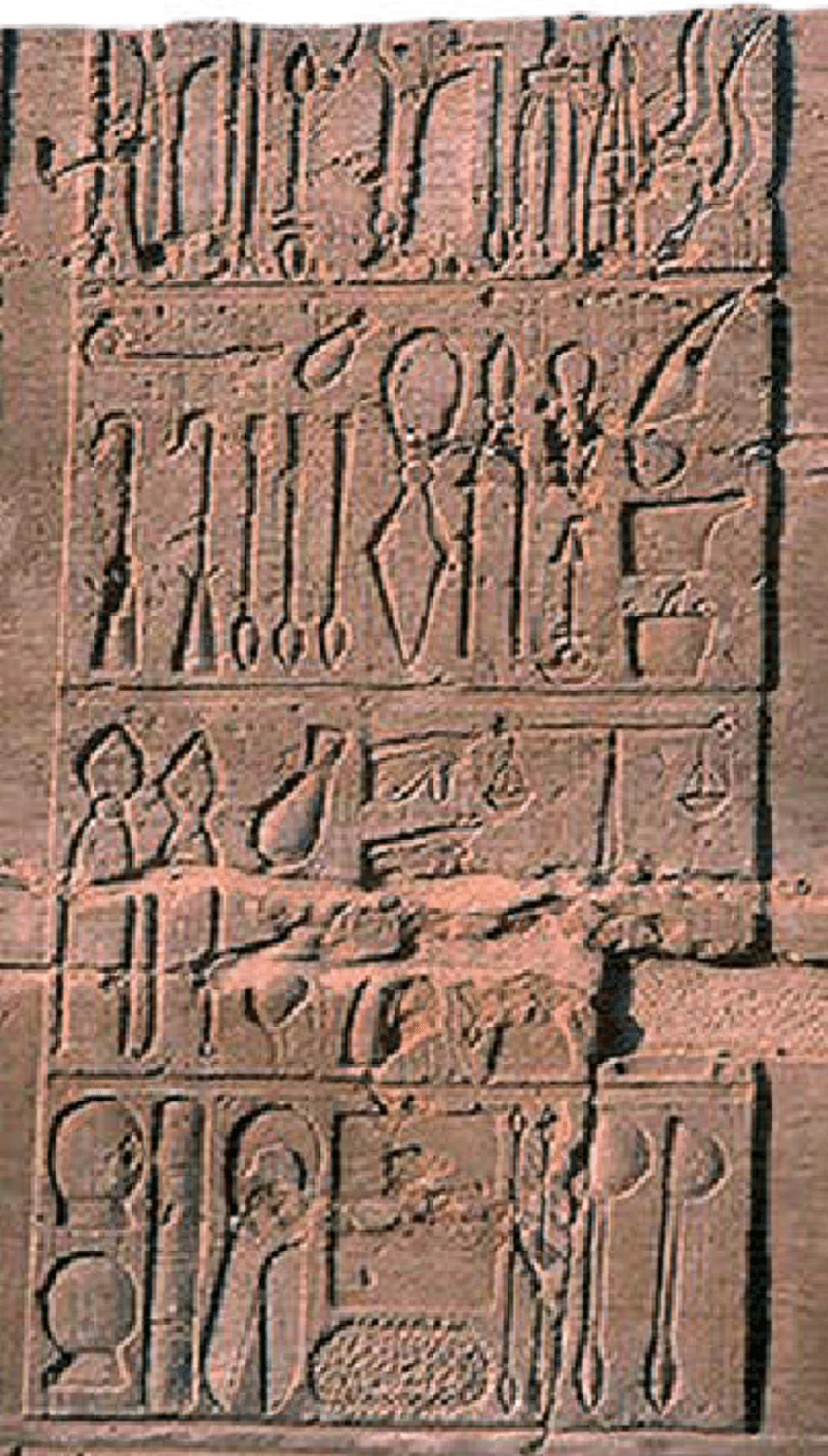 hight resolution of ancient medical instruments in inscription on the temple of kom ombo egypt ptolemaic period