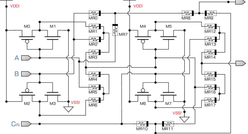 Full Adder circuit implementation using Hybrid Memristor
