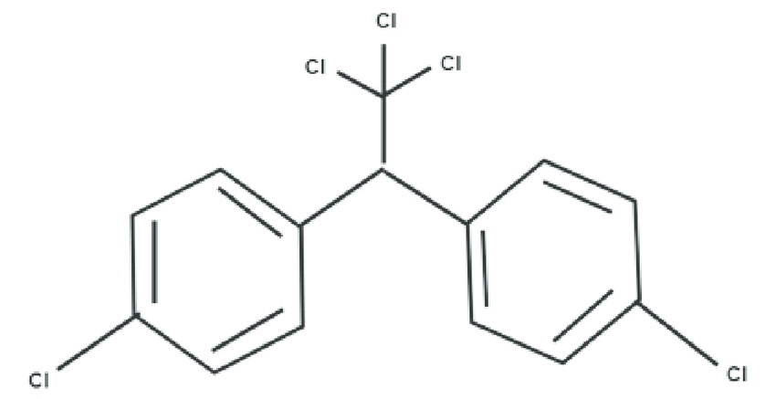 Chemical structure of DDT. DDT contains 14 carbon atoms