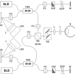 (a) Experimental setup of the fiber-based DD-FD-OCT. FC