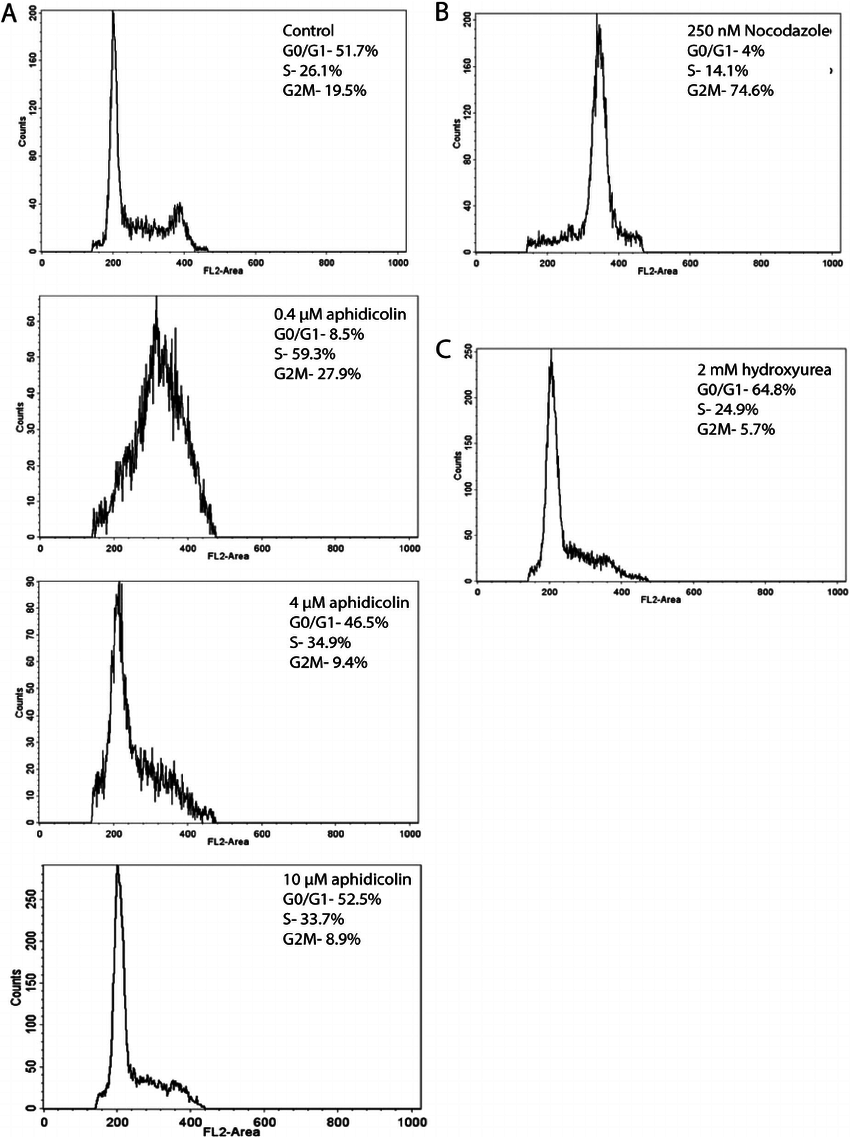 hight resolution of facs analysis reveals effects of inhibitors used to activate cell cycle check points a effects of increasing doses of aphidicolin on arresting cells in