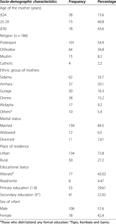 Socio-demographic characteristics of HIV positive mothers