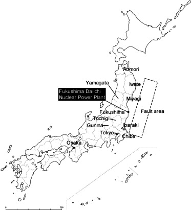 Location of Prefectures of concern and Fukushima Daiichi