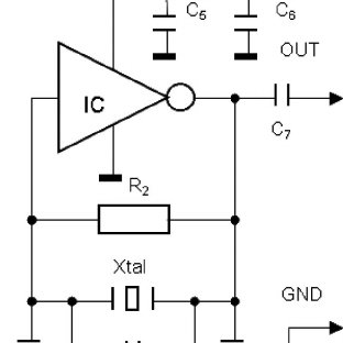 Circuit diagram of the Colpitts oscillator circuit