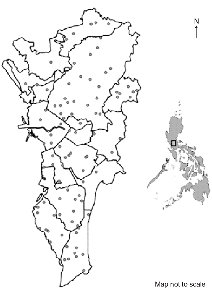 Geographic map of Philippines (right) and its National