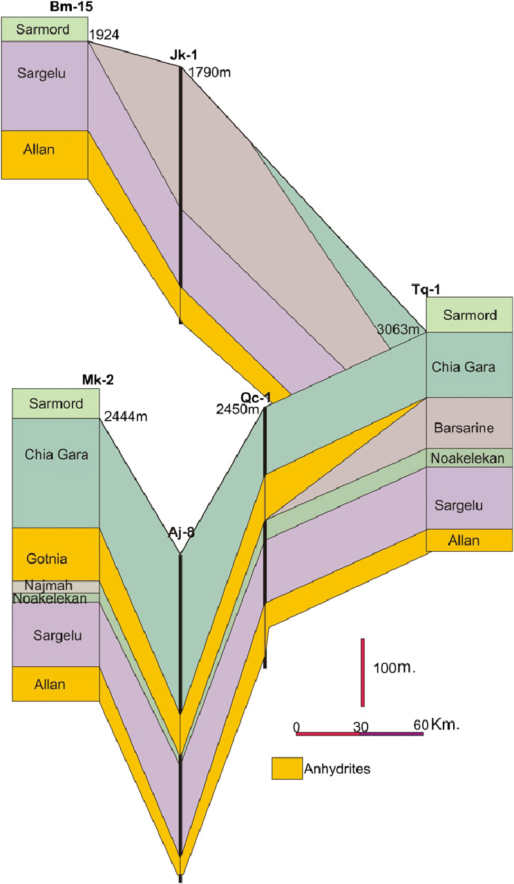 hight resolution of panel diagram of the suggested source rock formations in north iraq