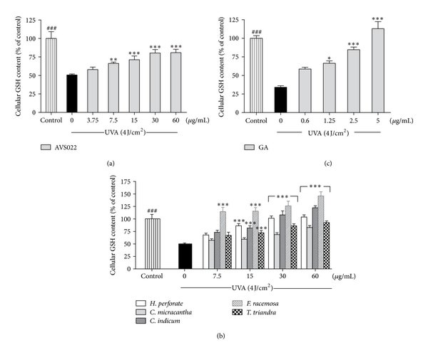 Inhibition of UVA-mediated catalase inactivation in HaCaT