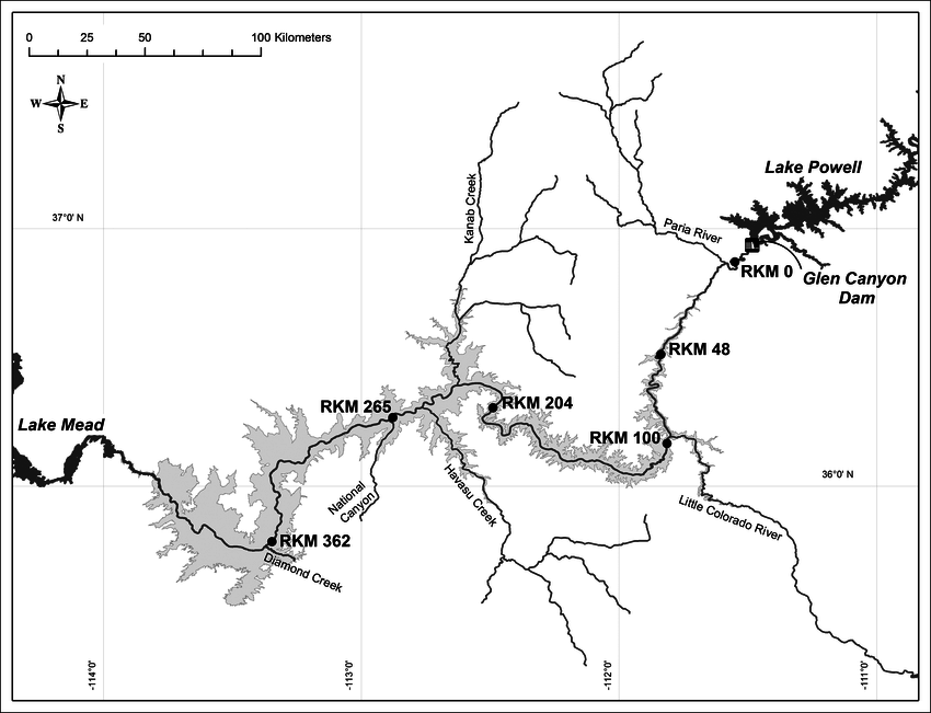 Map of the Colorado River, Grand Canyon, showing the 6