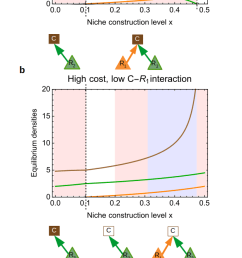 effects of niche construction in the opportunity cost scenario the color code is the same as in figure 3 e 1 e 2 1 g 1 g 2 0 8 m 1  [ 626 x 1575 Pixel ]
