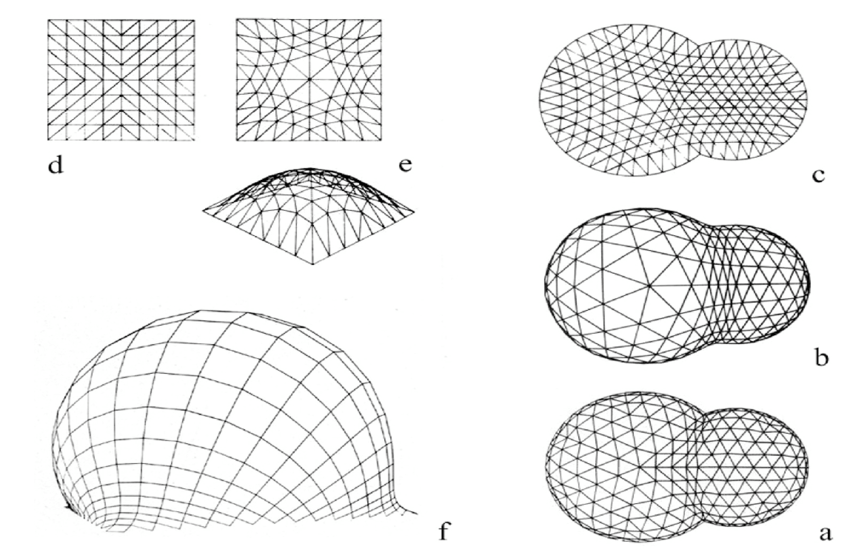 Examples of computed shape of pneumatic tensile structures