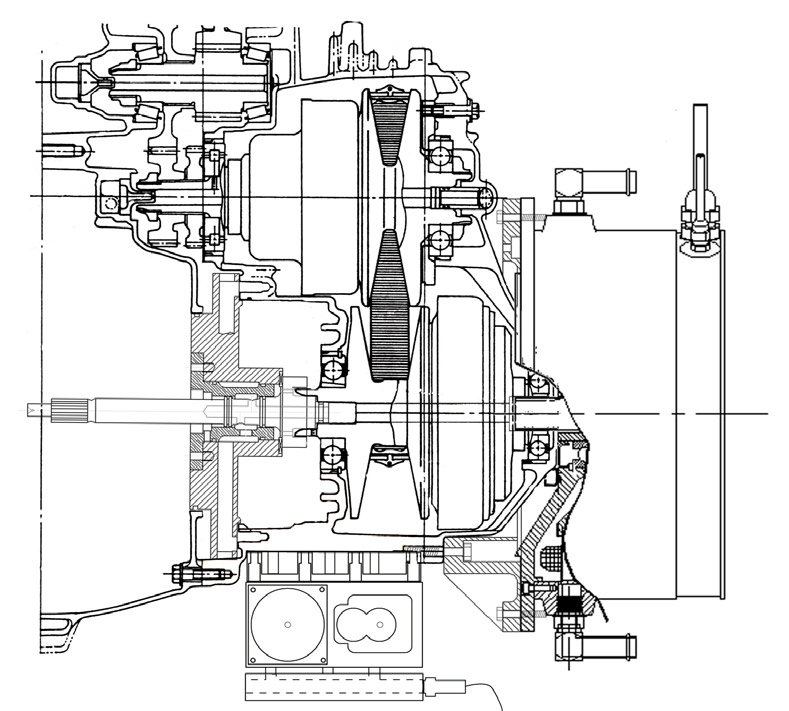 Cutaway Diagram of Modified 2L CVT HEV Powertrain Analog