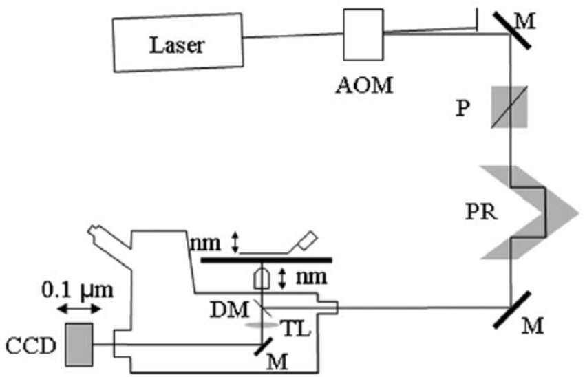 Inverted microscope (Olympus IX71) setup. Diagram shows