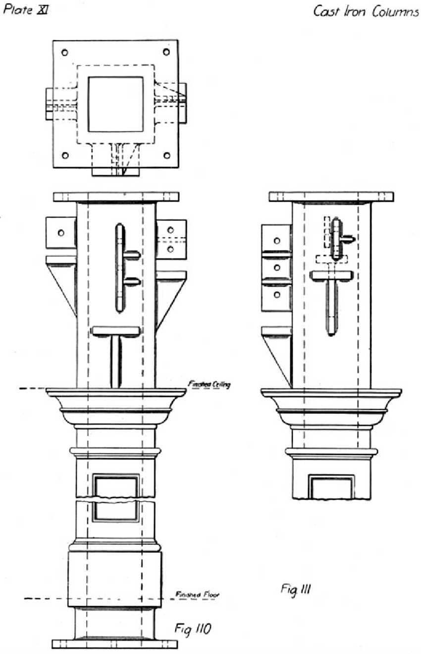 hight resolution of typical cast iron column connections including lugs shelves and cast iron plant diagram