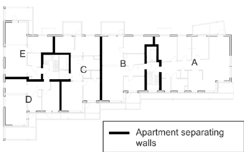 Roof plan of UEA student residence, with the measurement