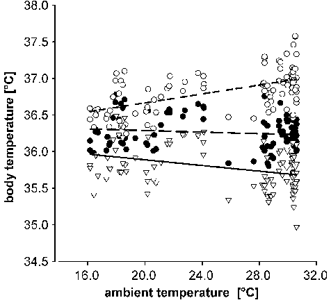 Relation between the mean daily body temperature and