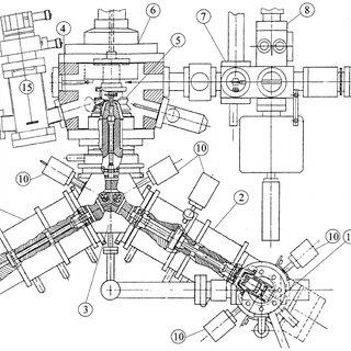Schematic of the SPELEEM: (1) electron gun, (2) image