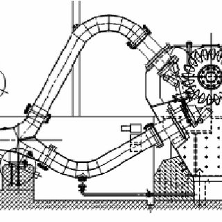 Typical layout of a horizontal shaft 2 jet Pelton turbine