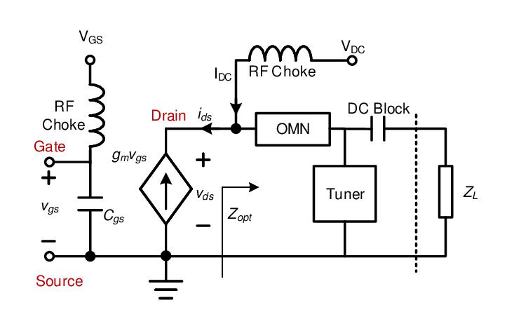 Equivalent schematic circuit of power amplifier