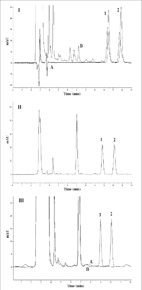 Chromatograms of stock solution (A) and plasma (B) after