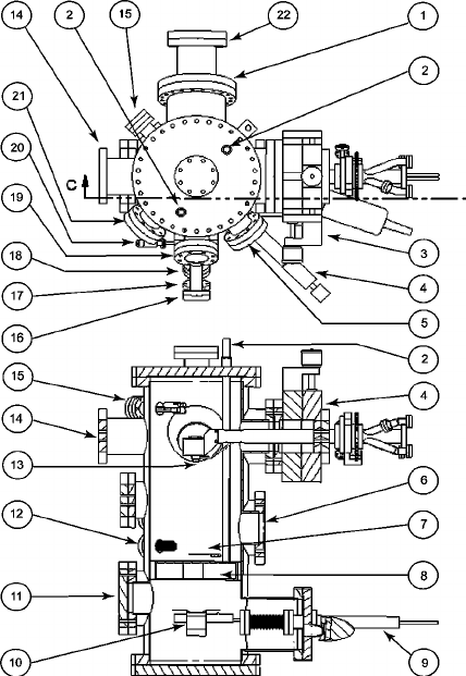 Schematic drawing of the UHV GLAD deposition chamber. The