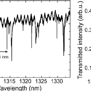 (a) Transmission spectrum showing WGM-resonances of an