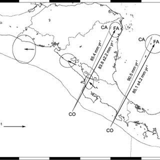 (a) Tectonic map identifying magnetic anomalies on Cocos