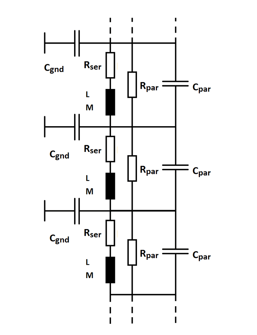 a) shows a typical part of a equivalent circuit diagram