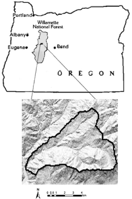 Locator map for the H.J. Andrews Experimental Forest LTER