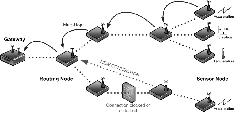 Structure of an ad hoc wireless sensor network (Fernandez