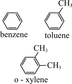 Chemical structures of benzene, toluene and xylene