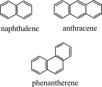 Chemical structures of naphthalene, anthracene, and