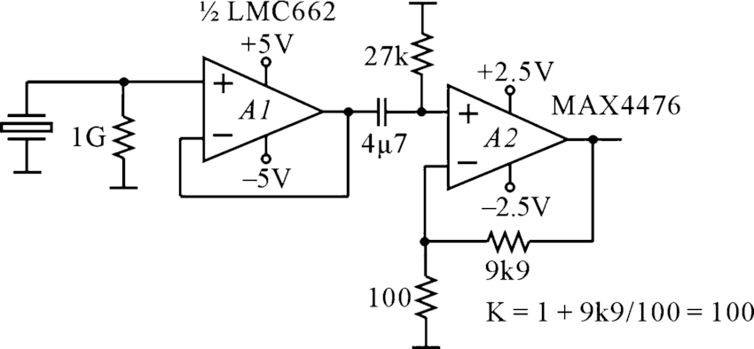 Preamplifier for piezoelectric sensors working in the