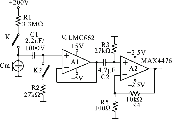 Ultralow-noise preamplifier for measurement condenser