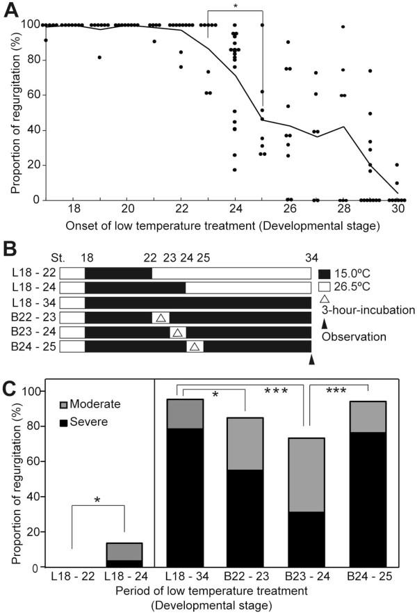Proportion of blood regurgitation phenotype after