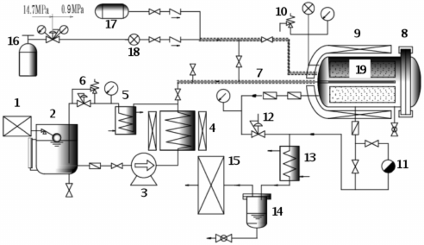 Schematic diagram showing the flow-type extraction appa