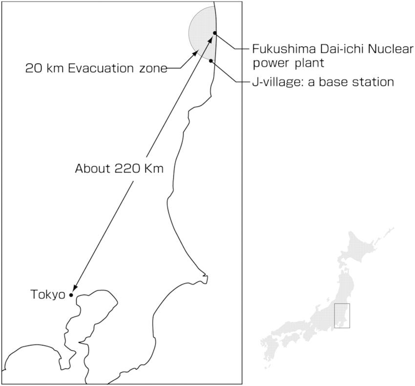 Map of Fukushima Dai-ichi nuclear power plant and J