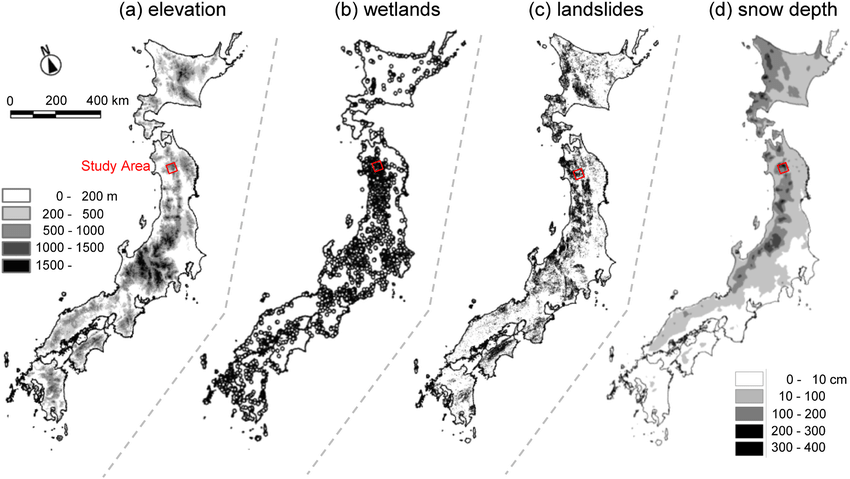 Maps of Japan showing topography compiled from the Digital